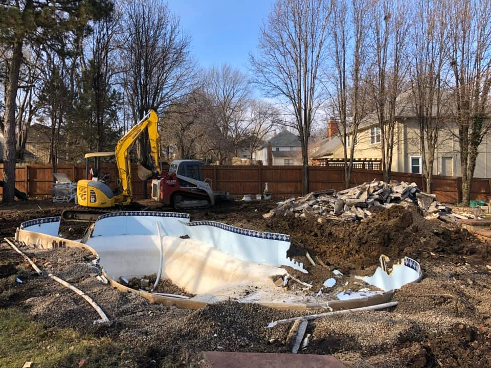 Rob's Trucking concrete pool demolition project