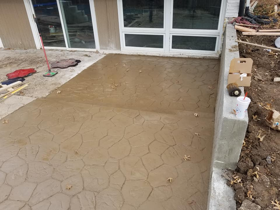 Rob's Trucking concrete patio stamping project
